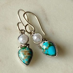 Silver Turquoise and Pearl Dangle Stone Earrings